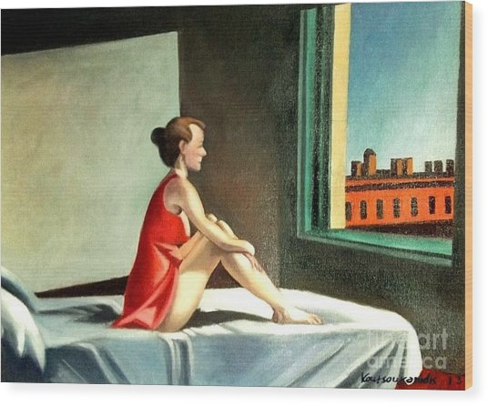 Morning Sun After E.hopper Wood Print by Kostas Koutsoukanidis