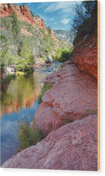 Morning Sun On Oak Creek - Slide Rock State Park Sedona Arizona Wood Print