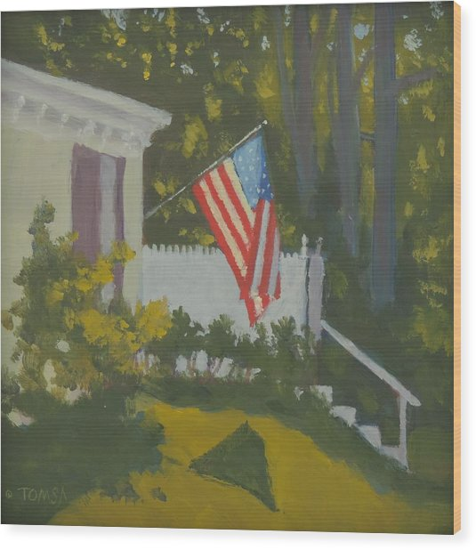 Morning Sun On Old Glory - Art By Bill Tomsa Wood Print