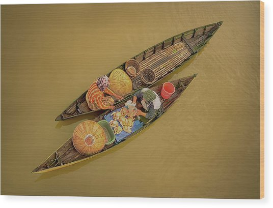 Morning Transaction Wood Print by
