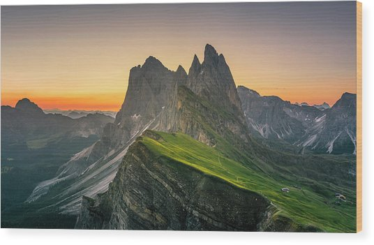 Morning Twilight At Secede, Italy Wood Print by Chalermkiat Seedokmai