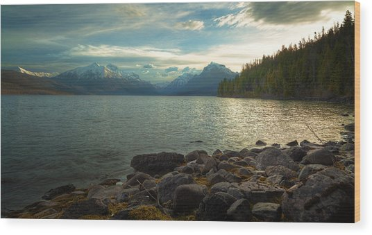 Mornings At Lake Mcdonald Wood Print by Stuart Deacon