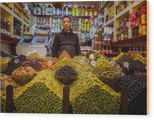 Moroccan Grocery Wood Print by Pierre-Yves Babelon