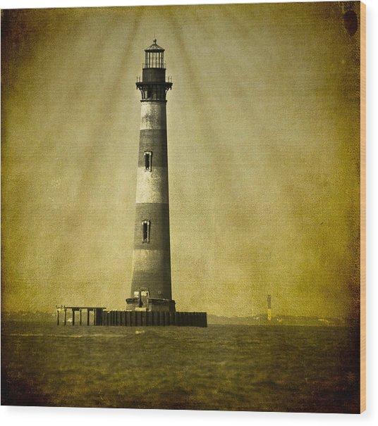 Morris Island Light Bw Vintage Wood Print