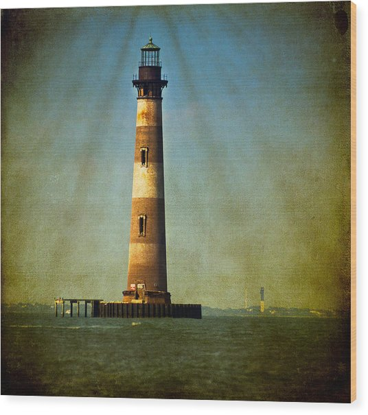 Morris Island Light Color Vintage Wood Print