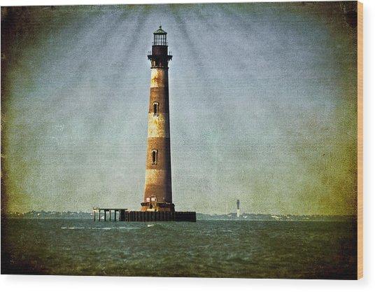 Morris Island Light Vintage Color Uncropped Wood Print