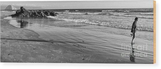 Morro Beach Walk Wood Print