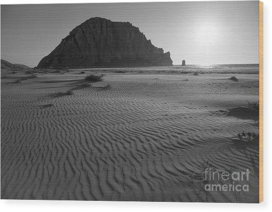 Morro Rock Silhouette Wood Print