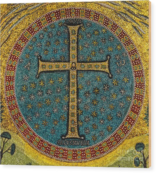 Mosaic Cross Ravenna I Wood Print