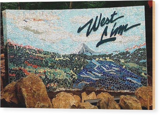 Mosaic For The City Of West Linn Oregon Wood Print by Charles Lucas
