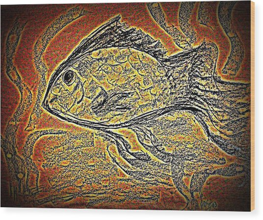 Mosaic Goldfish In Charcoal Wood Print