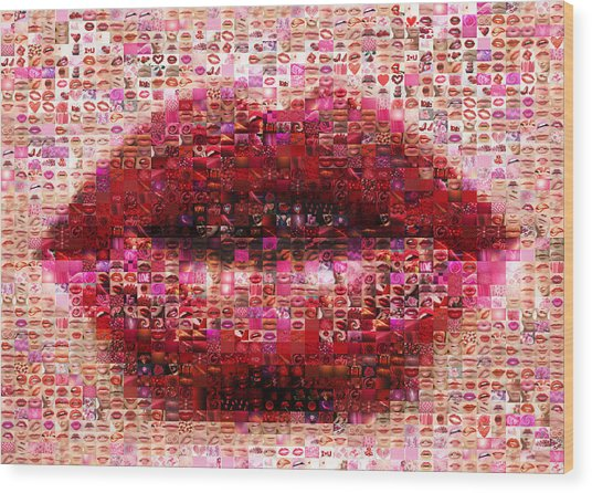 Mosaic Lips Wood Print