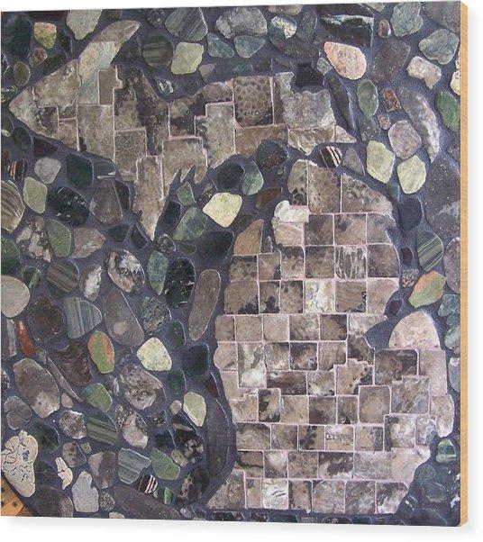 Mosaic Map Of Michigan Wood Print