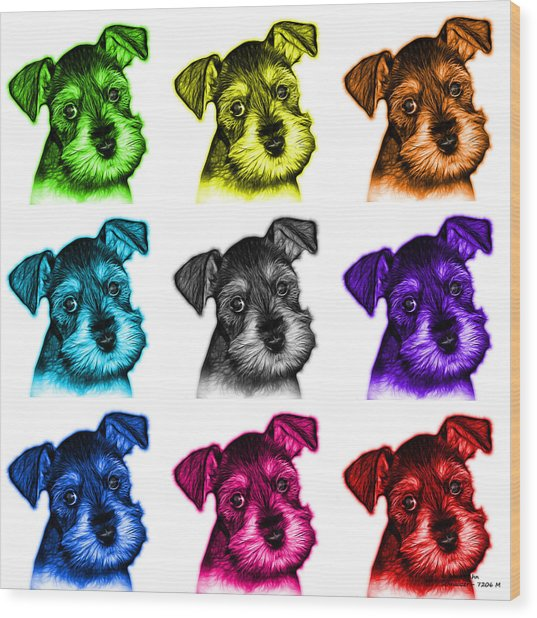 Mosaic Salt And Pepper Schnauzer Puppy 7206 F - Wb Wood Print