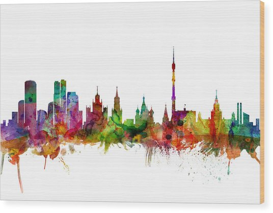 Moscow Russia Skyline Wood Print