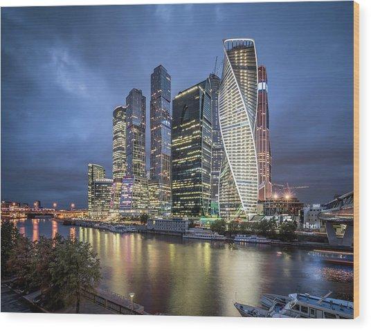 Moscow Skyline At Night Wood Print by Yongyuan Dai