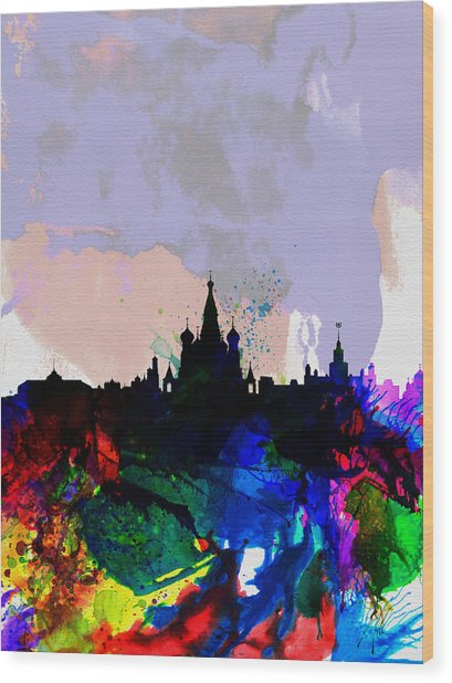 Moscow Watercolor Skyline Wood Print