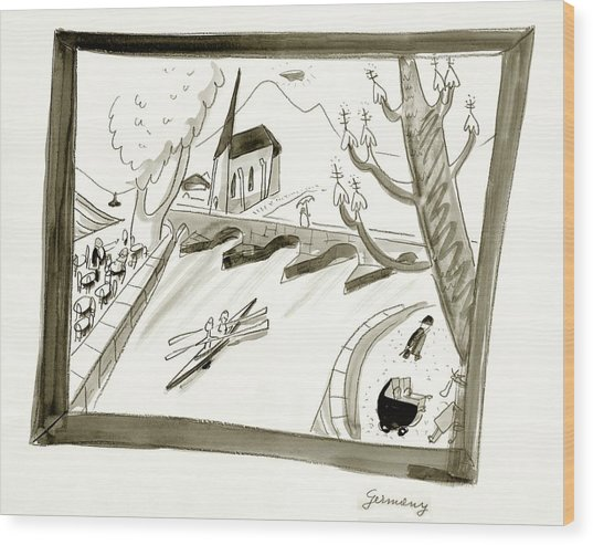 Mosel River In Germany Wood Print by Ludwig Bemelmans