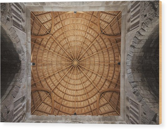 Mosque Ceiling Wood Print