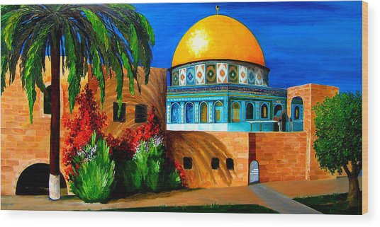 Mosque - Dome Of The Rock Wood Print