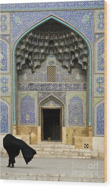 Mosque Door In Isfahan Esfahan Iran Wood Print