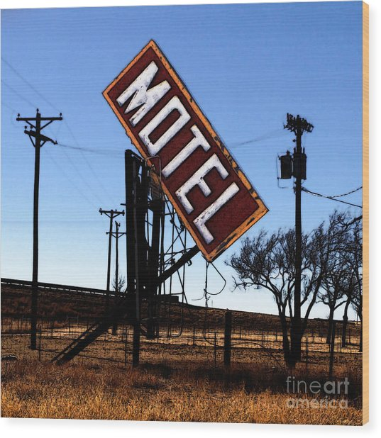 Motel - Route 66 Wood Print