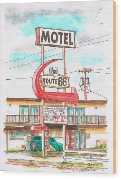 Motel Route 66 In Route 66, Andy Devine Ave., Kingman, Arizona Wood Print
