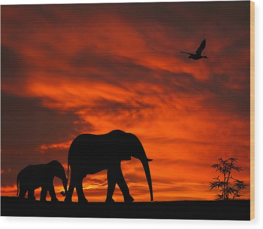 Mother And Baby Elephants Sunset Silhouette Series Wood Print