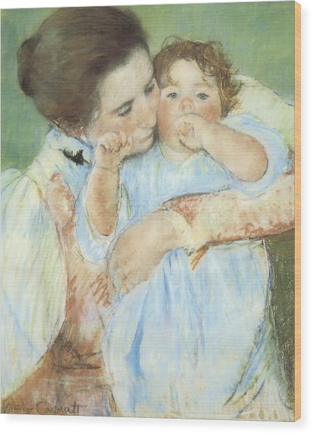 Mother And Child Against A Green Background Wood Print by Mary Cassatt