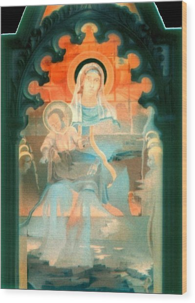Mother And Child By Fabriano 1975 Wood Print by Glenn Bautista
