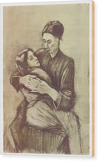 Mother And Child Wood Print by Vincent Van Gogh