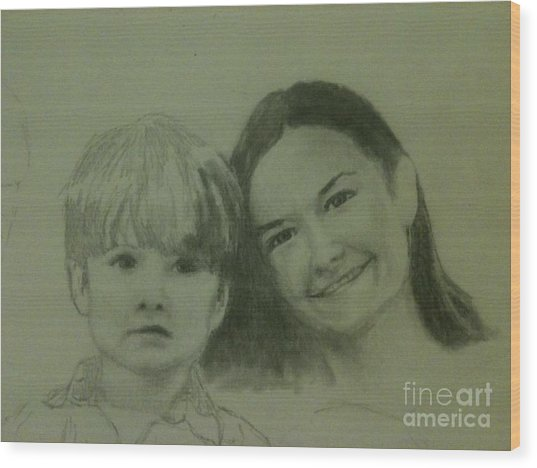 Mother And Son Wood Print by Frankie Thorpe