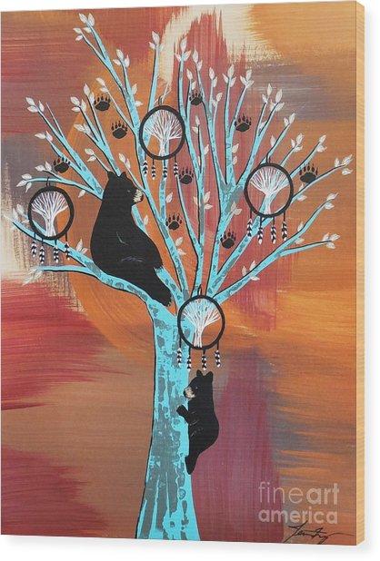Mother Bear's Tree Of Life Wood Print