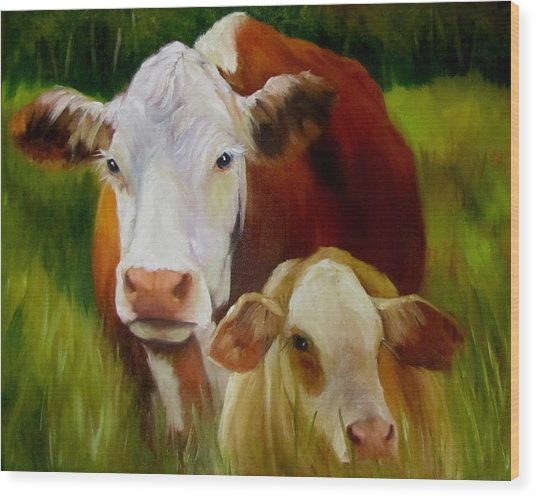 Mother Cow And Baby Calf Wood Print