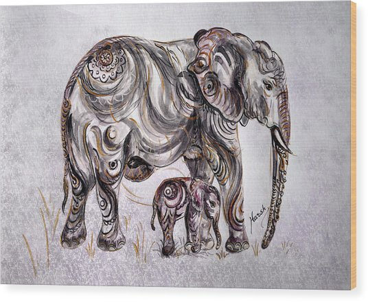 Mother Elephant Wood Print
