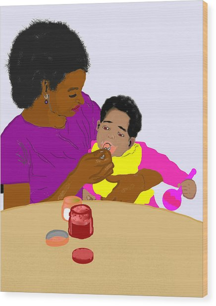 Mother Feeding Her Baby Wood Print by Pharris Art