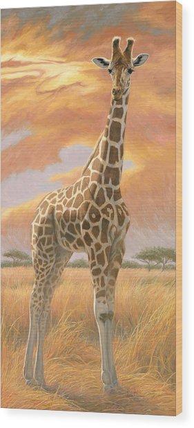 Mother Giraffe Wood Print