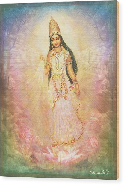Mother Goddess In Rainbow Colours Wood Print by Ananda Vdovic
