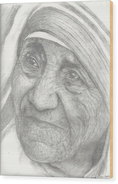 Mother Teresa Wood Print