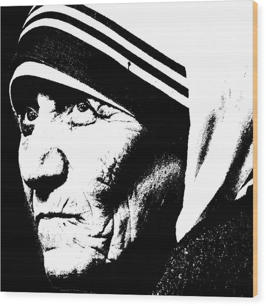 Mother Teresa Wood Print by Penny Ovenden