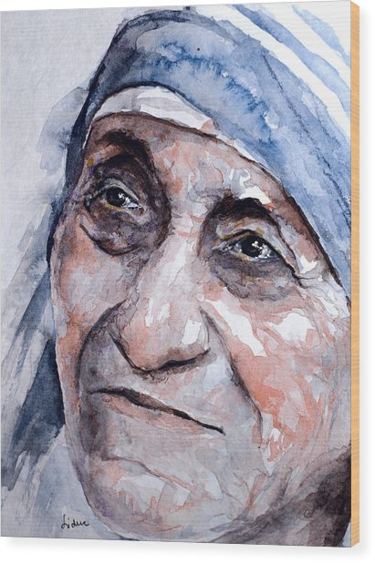 Mother Theresa Watercolor Wood Print
