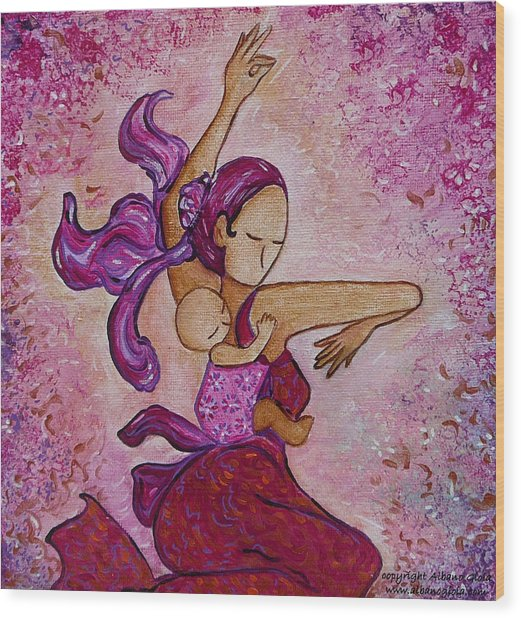 Motherhood Babywearing Artwork Dancing Together Wood Print