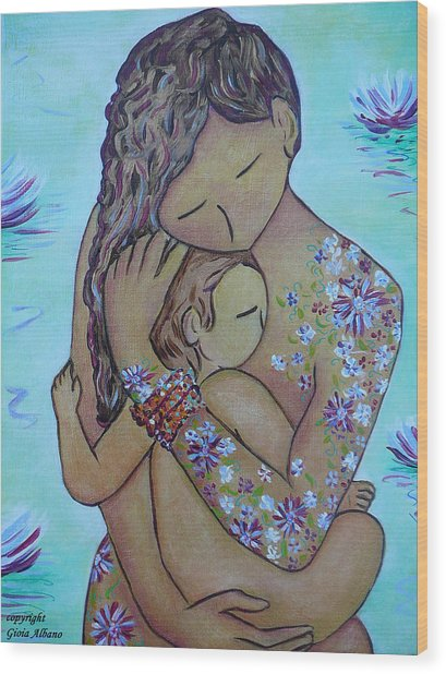 Motherhood Flowers All Over Wood Print