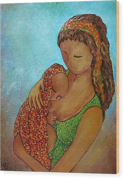 Motherhood Painting Just Close To You Original By Gioia Albano Wood Print