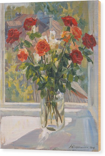 Mothers Roses Wood Print by Victoria Kharchenko