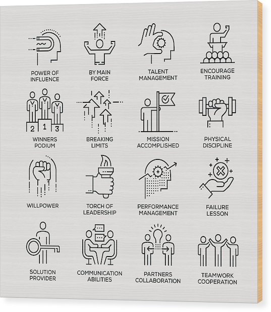 Motivation Icon Set - Line Series Wood Print by Enis Aksoy
