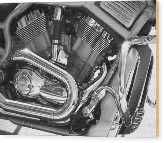 Motorcycle Close-up Bw 1 Wood Print