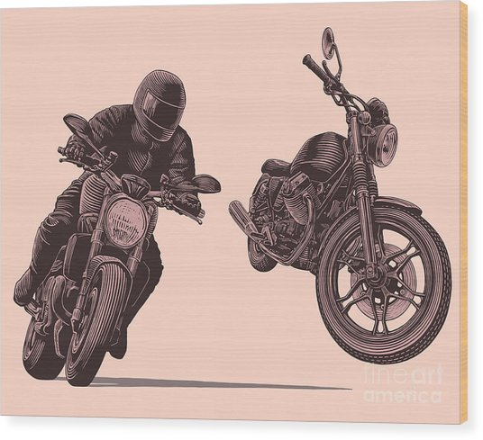 Motorcycle. Hand Drawn Engraving Wood Print by Marzufello