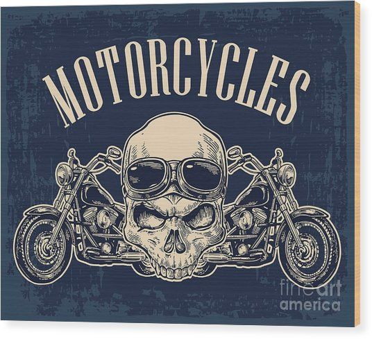 Motorcycle Side View And Skull With Wood Print