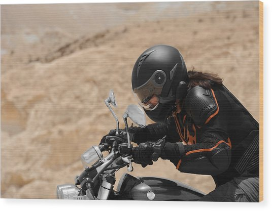 Motorcyclist In A Desert Wood Print
